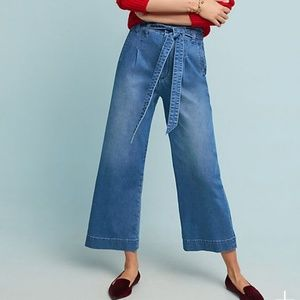 Pilcro Ultra High-Rise Belted Wide-Leg Jeans